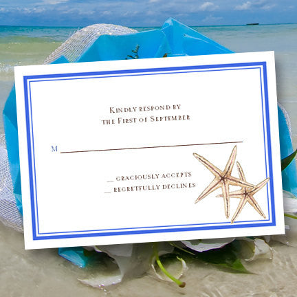 Wedding Response Cards Beach Starfish Royal Blue