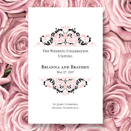 Wedding Program Template Grace Tea Rose Pink Black