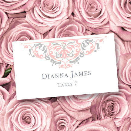 Wedding Seating Card Grace Tea Rose Pink Silver Tent