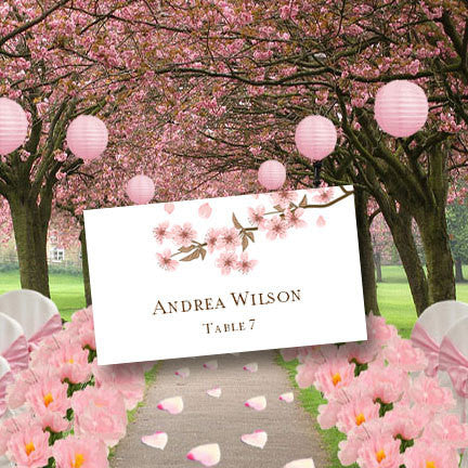 Wedding Seating Card Cherry Blossoms Tent