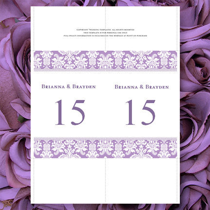Wedding Table Number Template Damask Lavender Purple Flat