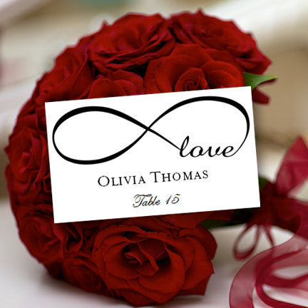 Wedding Seating Card Infinity Love Black Tent