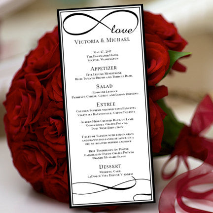 Wedding Menu Card Infinity Love Black Tea Length