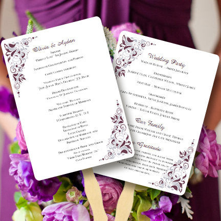 Wedding Program Fan Gianna Eggplant Silver