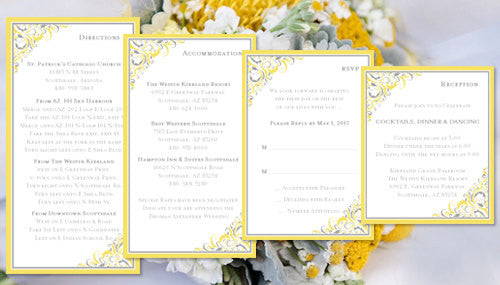 Pocket Fold Wedding Invitations Brooklyn Yellow Silver Gray 5x7