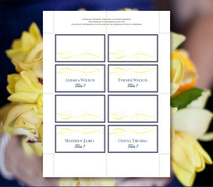 Wedding Seating Card It's Love Navy Yellow Tent