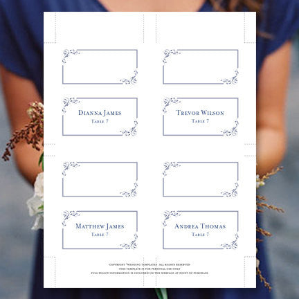 Wedding Seating Card Elegance Navy Blue Tent