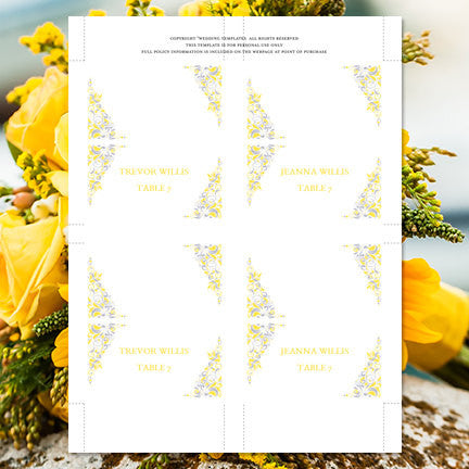 Wedding Seating Card Gianna Yellow Silver Tent