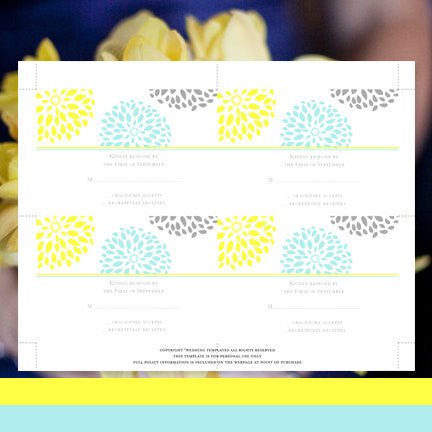Wedding Response Cards Floral Petals Turquoise Yellow Gray