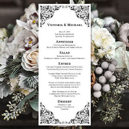 Wedding Menu Card Isabella Black Tea Length