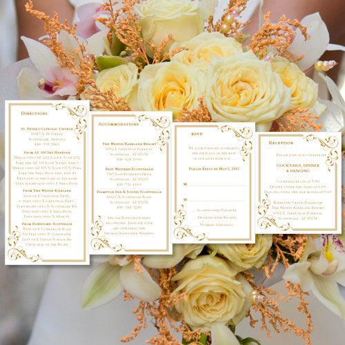 Pocket Fold Wedding Invitations Elegance Gold 5x7