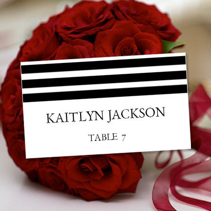 Wedding Seating Card Simply Stripes Black White Tent