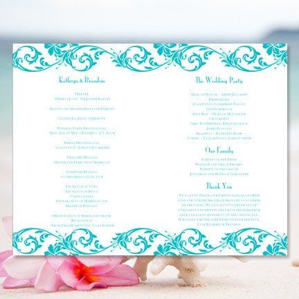 Wedding Program Template Damask Malibu Blue