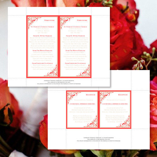 Pocket Fold Wedding Invitations Brooklyn Vivid Coral Tan 5x7