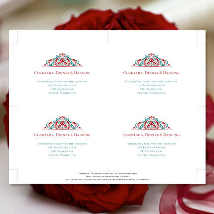 Wedding Reception Invitations Grace Red Teal