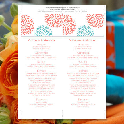 Wedding Menu Card Floral Petals Coral Turquoise Tea Length