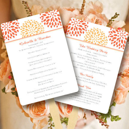 Wedding Program Fan Floral Petals Coral Orange