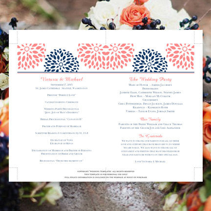 Wedding Program Fan Floral Petals Coral Navy