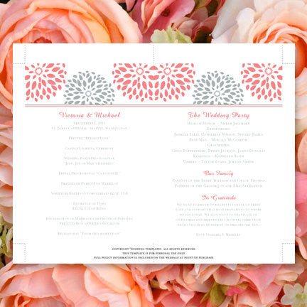 Wedding Program Fan Floral Petals Coral Gray