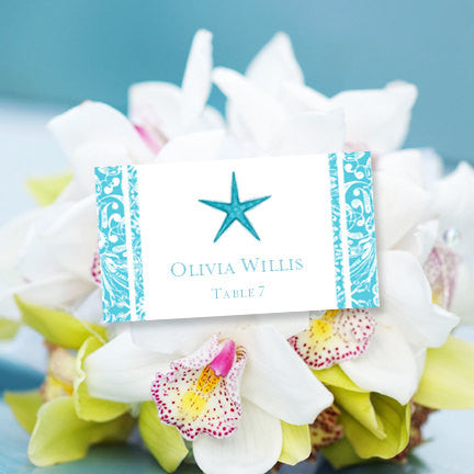 Wedding Seating Card Beach Starfish Pool Blue Tent