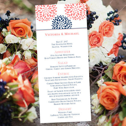 Wedding Menu Card Floral Petals Coral Navy Blue Tea Length