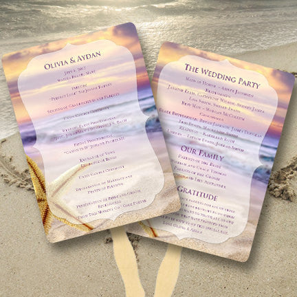 Wedding Program Fan Tropical Beach
