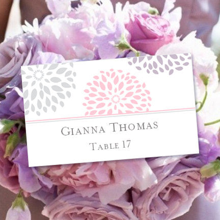 Wedding Seating Card Floral Petals Blush Lavender Silver Tent