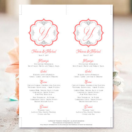 Wedding Menu Card Monogram Coral Gray Tea Length