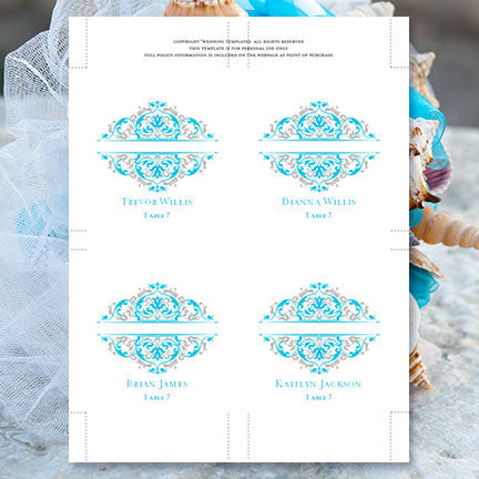 Printable Place Card Template Grace Malibu Blue Silver Tent