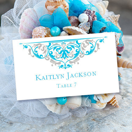 Printable Table Number Template Grace Malibu Blue Silver Tent