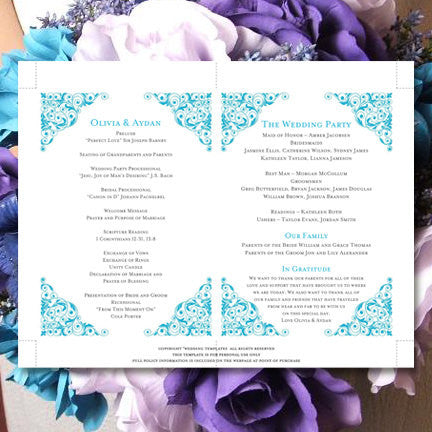 Wedding Program Fan Isabella Malibu Blue
