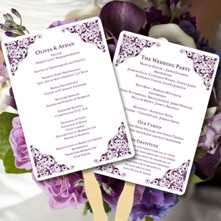 Wedding Programs Fan Isabella Plum Purple