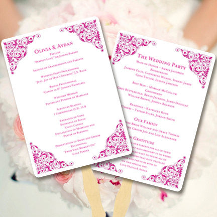 Wedding Program Fan Isabella Begonia Pink