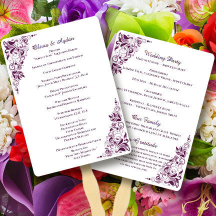 Wedding Program Fan Gianna Dark Purple Wisteria