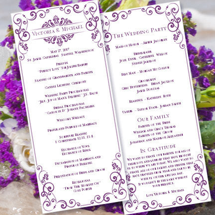 Slim Wedding Program Julia Purple
