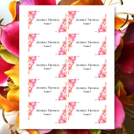 Printable Wedding Place Cards Gianna Fuchsia Pink Orange Flat