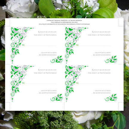 Wedding Response Cards Gianna Kelly Green Silver