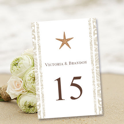 Wedding Table Number Template Beach Flat
