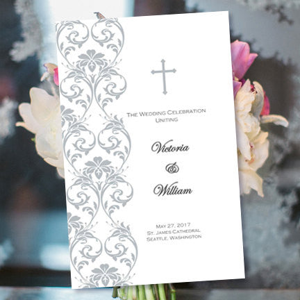 Catholic Church Wedding Program Damask Silver