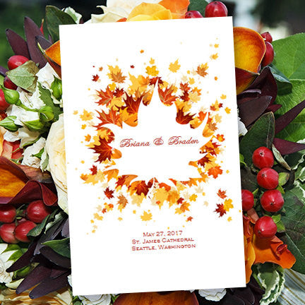 Wedding Program Template Falling Leaves Autumn Yellow Red Orange