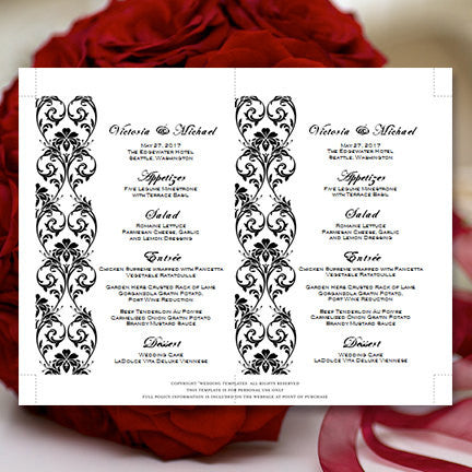 Wedding Reception Menu Template Tropical Damask Black 5x7