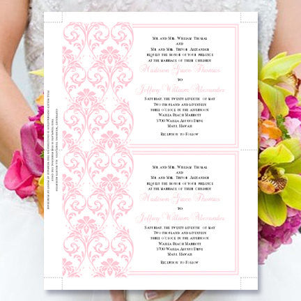 Damask Wedding Invitation Blush Pink