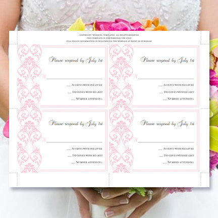 Wedding Response Cards Damask Blush Pink