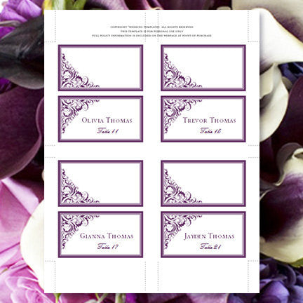 Wedding Seating Card Brooklyn Eggplant Purple Tent
