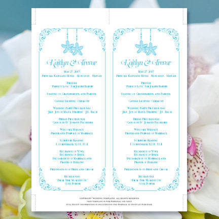 Slim Wedding Program Love on the Beach Malibu Blue