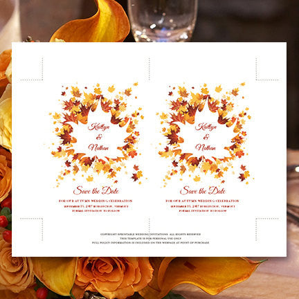 Wedding Save the Date Cards Falling Leaves Orange Yellow Copper