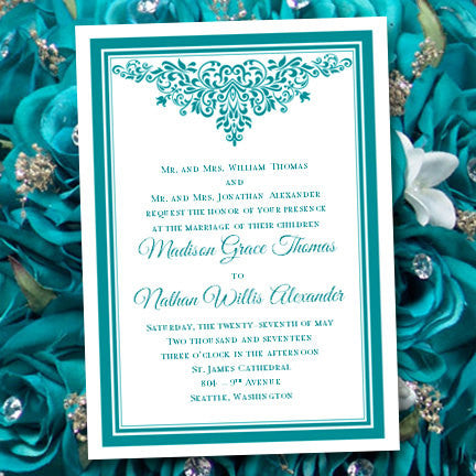 a06a1dc34d402 Anna Maria Wedding or Bridal Shower Invitation Teal