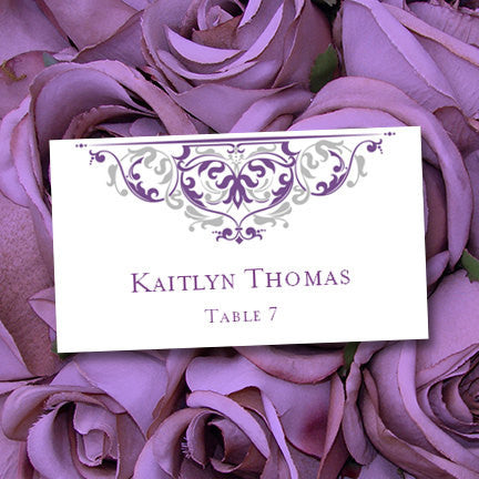 Wedding Seating Card Grace Purple Silver Tent