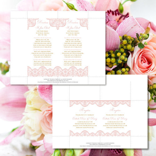 Pocket Fold Wedding Invitations Vintage Lace Blush Pink Gold 5x7