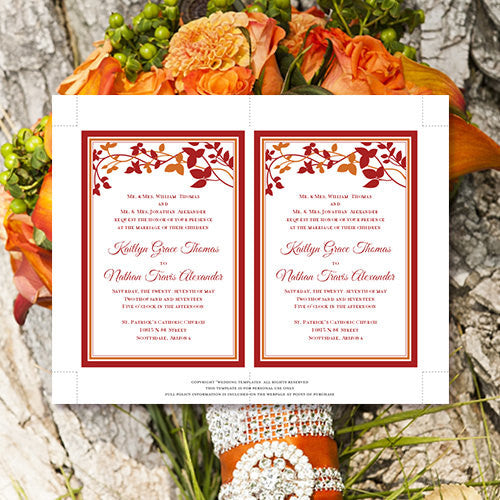 Pocket Fold Wedding Invitations Forever Entwined Fall Orange Red 5x7